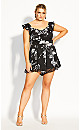 Serene Floral Playsuit - black