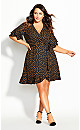 Spot Flutter Dress - black