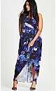 Strapless Faux Wrap Hydrangea Print Maxi Dress