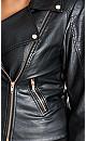 Plus Size Zip Biker Jacket - black