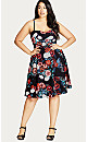 DRESS GATHER FRONT - Black Festive Rose - 22 / XL