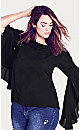 Plus Size Romantic Sleeve Top - black