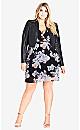 Sublime Floral Faux Wrap Dress - black