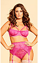 Plus Size Olivia Strappy Lace Bra - Hot Pink