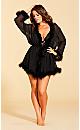 Plus Size Marabou Trim Short Robe - black