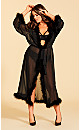 Plus Size Long Marabou Trim Robe - Black