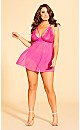 Plus Size Sophie Strappy Babydoll - Hot Pink