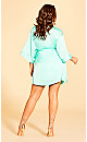 Plus Size Satin Chemise & Robe Set - Mint