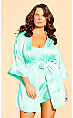 Satin Chemise & Robe Set - mint