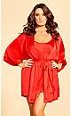 Satin Chemise & Robe Set - red