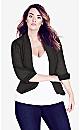 Plus Size Drapey Blazer Jacket - black