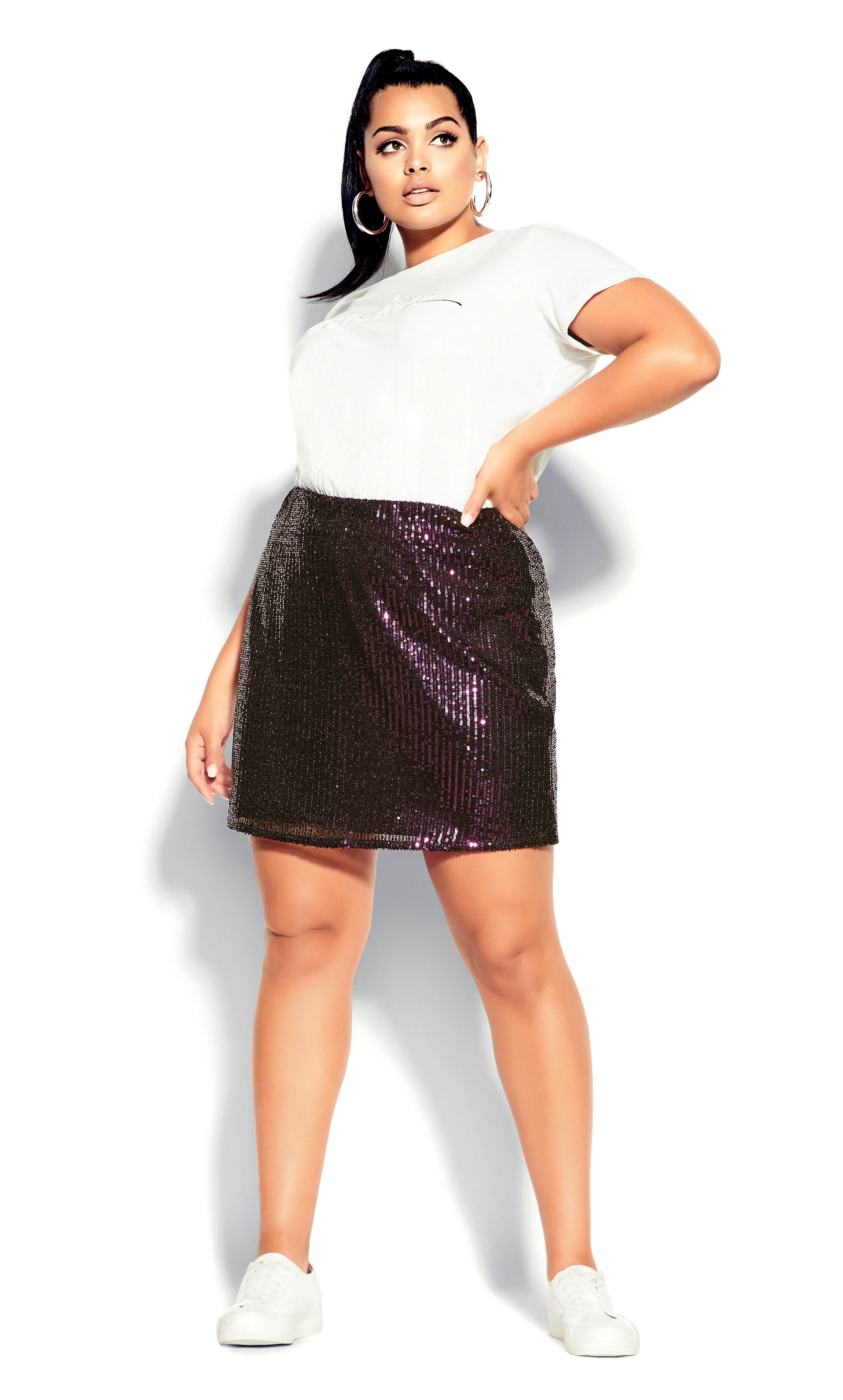 Bronze mini skirts size 29 Plus Size Red Sparkly Sequin High Rise Mini Skirt