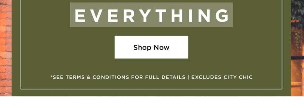 50% OFF EVERYTHING* - *See Terms & Conditions for Full Details, Excludes City Chic - SHOP NOW