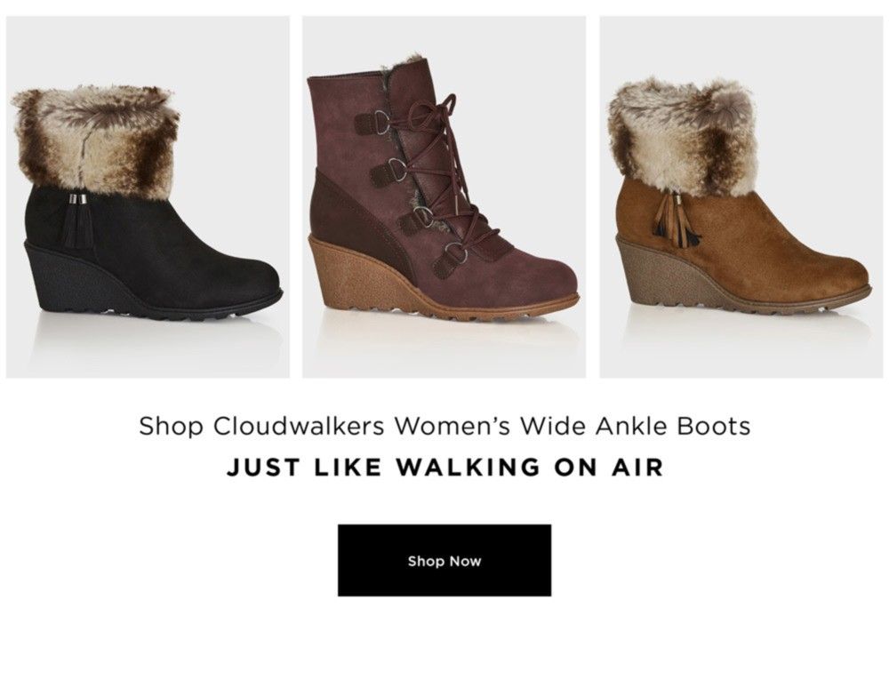 WALK THIS WAY - WINTER RE-BOOT - Shop Cloudwalker's Women's wide Ankle Boots - Just Like Walking on Air - SHOP NOW