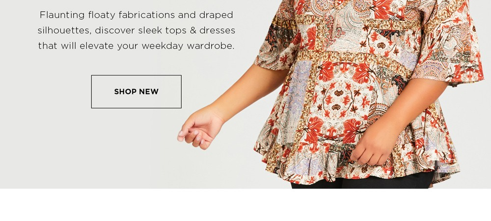 NEW - FRESH PICKS - Flaunting floaty fabrications and draped silhouettes, discover sleek tops & dresses that will elevate your weekday wardrobe - See Terms & Conditions for full details - Prices as marked - SHOP NOW
